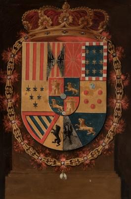 """""""Escudo de armas Carlos III"""" Escuela española, hacia 1770."""