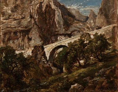 """Paisaje montañoso con puente"". Theodore Fourmois"