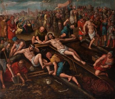 """""""Cristo con el buen y el mal ladrón"""" Atribuido a Antoni"""