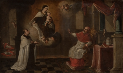 """""""Aparición de la Virgen al papa"""" Escuela sevillana, siglo XVII."""