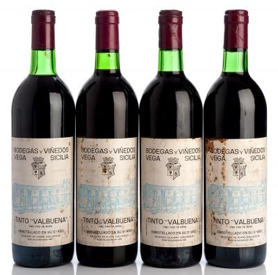 Cuatro botellas de Vega Sicilia  Valbuena 3º, 1980.