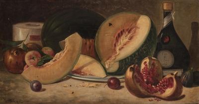 """""""Bodegón con melón"""" Escuela española, siglo XIX."""