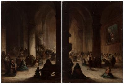 """""""El sermón"""" Escuela española, siglo XIX."""