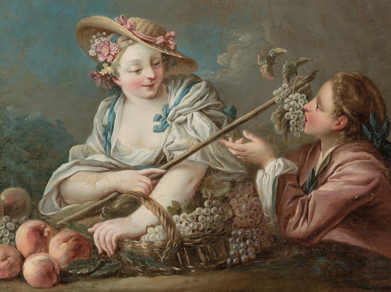 Escuela francesa siglo XVIII.Oleo sobre lienzo.