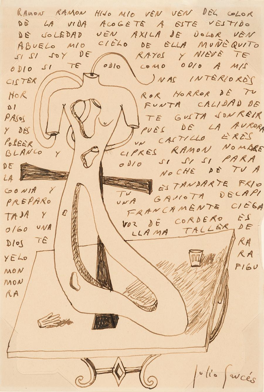 JULIO GARCÉS (Soria, 1919 - Lima, 1979). Sin título. Tinta sobre ...