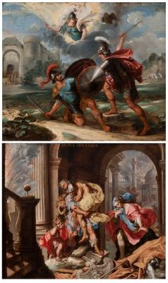 """""""Héctor y Aquiles"""" Escuela flamenca, siglo XVII."""