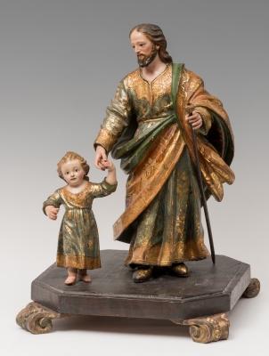 """""""San José con el Niño"""" Escuela andaluza, hacia 1700."""