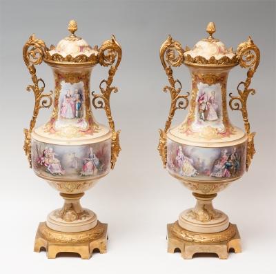 Pareja de jarrones Sèvres; Francia, mediados del siglo