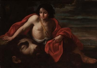 """""""David con la cabeza de Goliat"""" Escuela italiana, siglo XVII."""