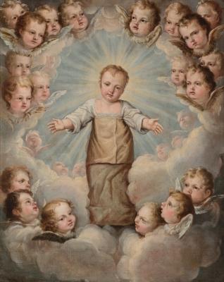 """""""Niño Jesús en la gloria"""" Circulo de CRISTÓBAL DE VILLALPANDO"""