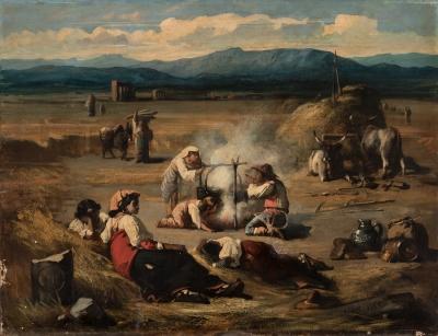 """Escena costumbrista"" Escuela italiana, siglo XIX."