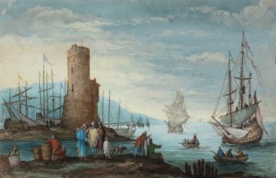 """Marina"". Escuela francesa, siglo XVIII."