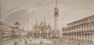 """Plaza de San Marcos"" Siguiendo modelos de Canaletto, siglo XIX."