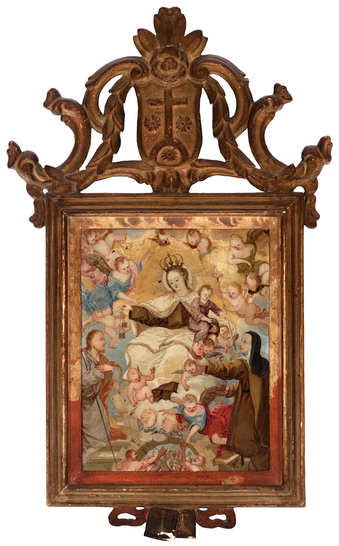 """Escuela colonial; siglo XVIII. """"Virgen con el Niño, San Jose y ..."""