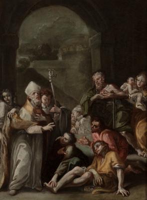 """""""Santo Tomas de Villanueva dando limosna  a los pobres""""..."""