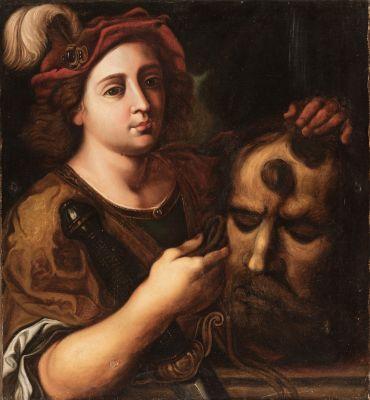 """David y Goliat"". Escuela italiana; siglo XVII."