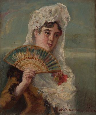 """MANUEL GARCIA ROMERO, Hispaleto (Finales del siglo XIX- principios del siglo XX).""""Mujer con abanico""""Óleo sobre tabla."""