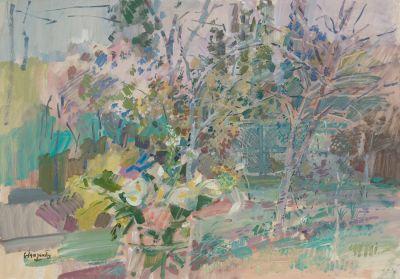 """JULIÁN GRAU SANTOS (Canfranc, Huesca, 1937).""""Ramo en el jardín""""."""