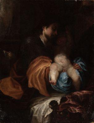 "Siguiendo modelos de FRÍAS ESCALANTE (Córdoba, 1633 – Madrid, 1669).""Virgen con Niño""."