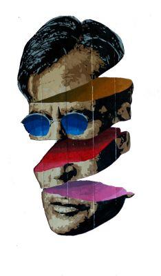"""VÍCTOR OS (Madrid 1971)""""Cabeza laminada"""", 2020.Esmalte sintético sobre tablas de palets reciclados."""