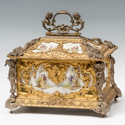 Louis XV style box; SÈVRES, France, 19th century.Porcelain and gilt and silver bronze.