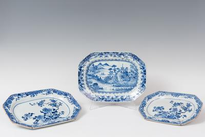 Conjunto de tres bandejas; Compañía de las Indias, Periodo Quianlong, principios del siglo XX.