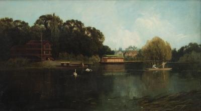 """""""El Támesis a su paso por Cookham"""" Escuela inglesa, siglo XIX."""