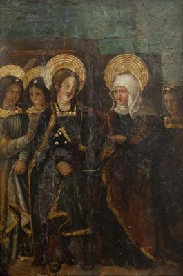 """""""Visitación de María a Santa Isabel."""" Escuela aragonesa"""