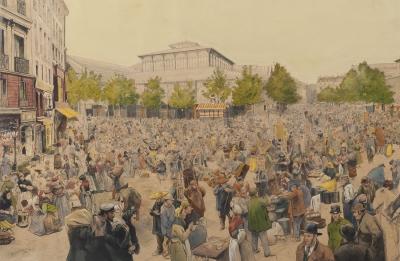 """""""Vista del mercado de Les Halles de París"""" VON MYRBACH-"""