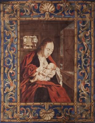"""""""Virgen de la Leche"""" Tapiz pintado de principios del siglo XX."""