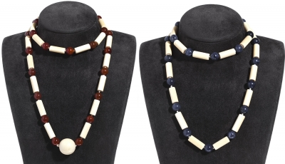 Conjunto de dos collares realizados en tubos macizos de
