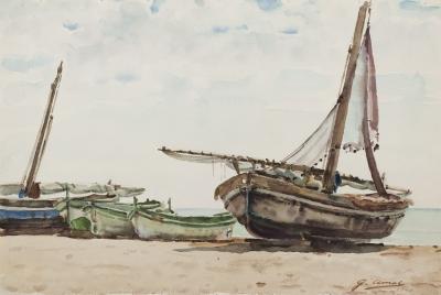 """La playa de Calafell"". Gabriel Amat Pagès"