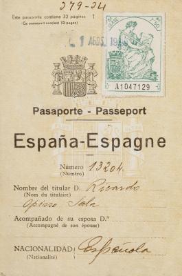 Pasaporte de Ricardo Opisso Sala (Tarragona, 1880 – Bar