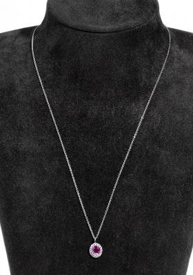 Gargantilla en oro blanco de 18 kts, modelo rosetón clá