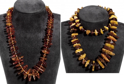 Pareja de collares de ambar natural procedente del Báltico.