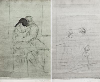 Lote: 35117288NOGUEIRA, Carlos (Mozambique, 1947).Pareja de dibujos, 1980 y 1981.