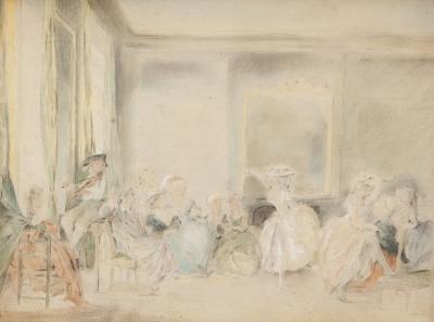 """""""Escena de interior"""" Escuela francesa del siglo XVIII."""
