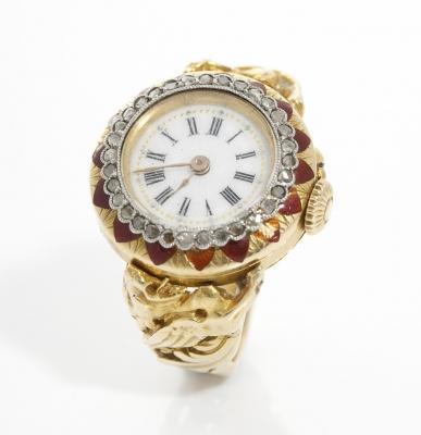 Reloj anillo en oro amarillo de 18 kts, realizado en lo