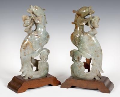 Pareja de tallas en jade. China, siglo XX.
