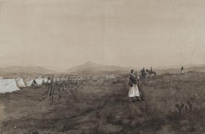 """""""Escena de combate"""". Escuela española, siglo XIX."""