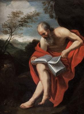 """""""San Jerónimo leyendo"""" Escuela italiana del siglo XVII,"""