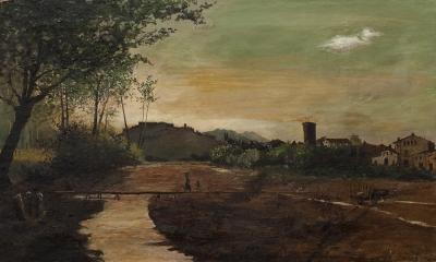 """Vista de Hostalrich"" AMADÓ Y BERNADET, Ramón"