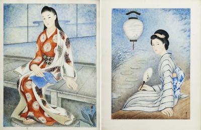 Escuela japonesa, siglo XX. Pareja de geishas.