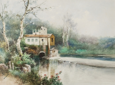 Escuela española, siglo XX.Paisaje fluvial.