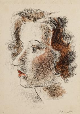 """""""Retrato femenino"""".  GAUSACHS ARMENGOL, Josep"""