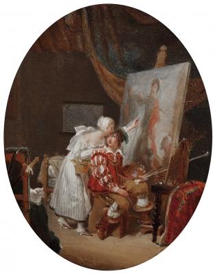 """""""El pintor recibiendo consejo"""" MALLET, Jean-Baptiste"""