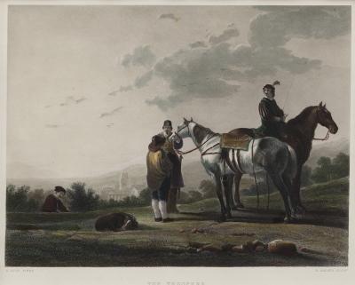 """Soldados a caballo"" Escuela holandesa del siglo XIX. D"