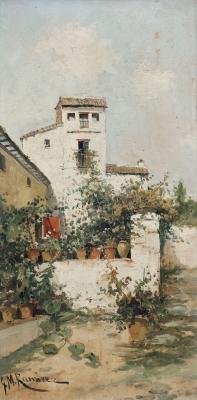 """""""Patio andaluz"""" Escuela andaluza, finales del siglo XIX."""