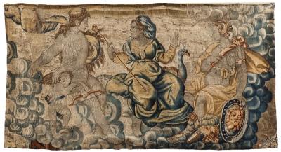 """""""Afrodita, Atenea y Hera"""" Escuela flamenca, finales del siglo XVI."""