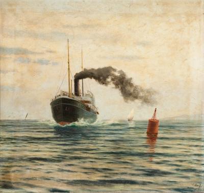 """""""Barco a vapor"""". 1902. Salvador Abril y Blasco (Valencia, 1862-1924)."""